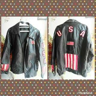 Jaket kulit american flag motif