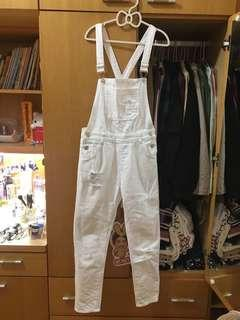 🚚 吊帶褲 白色