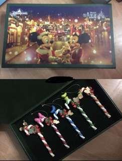 香港迪士尼非賣品聖誕掛飾一套