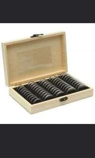 50pcs 30mm capsule with pads in wooden box.
