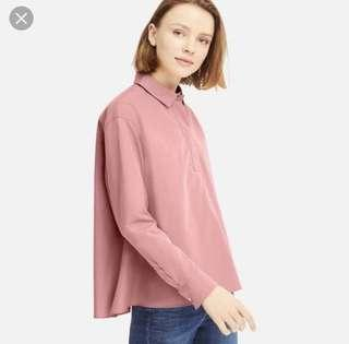 Uniqlo EFC A Line Long Sleeve Shirt in Pink