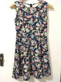 BNWOT Dark blue floral dress