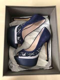Pedro Platform Heels / Peep Toe - Navy Lace