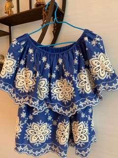 超美藍白通花top