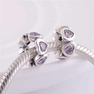 Code SS853 - Pink Love Heart Spacer 100% 925 Sterling Silver Charm, Chain Is Not Included, Compatible With Pandora