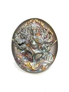 Rian Par Tanabodee Maha Sethee Champol- Vaisaravana Vajrayana  Nuea Bronze Phiw Pragāy Rung Amulet