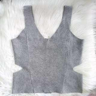 Back Zip Knitted Cutout Crop top Gray