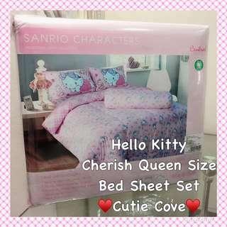 *IN STOCK IN SG* Hello Kitty Cherish Queen Size Bedsheet Set