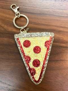 🚚 Pizza亮片零錢包+鑰匙圈。拉鍊錢包。隨身皮包。翻玩潮流。實用