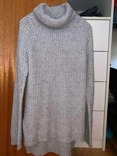 Grey turtle neck knitted jumper