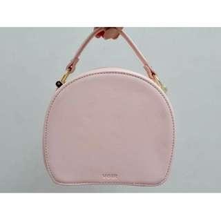[BN] Voir Circle Round Crossbody Messenger Makeup Cosmetic Korean Lolita Pink Dusty Rose Salmon Mansur Gavriel Inspired Bag