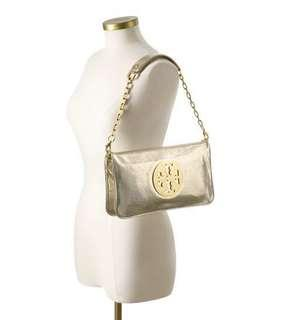 Authentic Tory Burch Reva Clutch - Gold Metallic