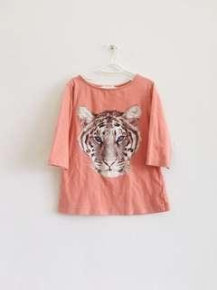 6 to 8 years old Pumpkin Patch Tiger Pink Shirt Size 7