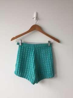 American Apparel Teal High Waisted Short