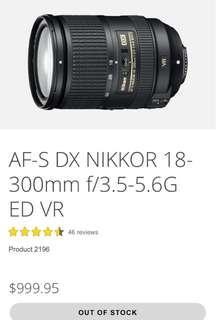 NIKKON AF-S 18-300MM F/3.5-6.3GED VR