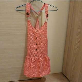 🚚 粉色點點 燈籠 吊帶裙
