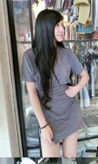 🚚 全新@素色短袖綁帶交叉速瘦腰運動風連身裙短裙