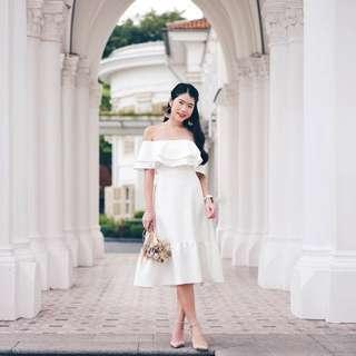 Ally Ruffle Drop Hem Dress in White