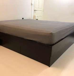 King / double bed frame with storage drawers Ikea