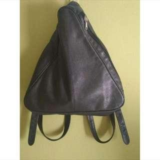 Black Leather Triangle Bag