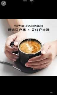 100% new 保温水杯 無線手機充電 支持iphone samsung 生日 情人節禮物