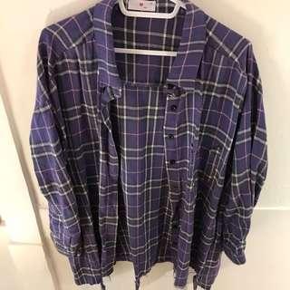 🚚 紫色格子襯衫