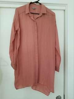 Cos coral oversized long shirt US size 4 or AU 8