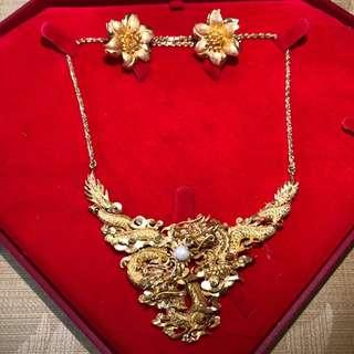 916 Gold Dragon Necklace with earring
