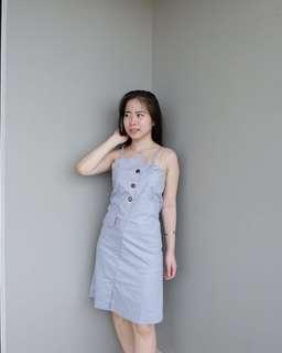 Button dress in baby blue