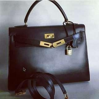 0a2b52b8564d Vintage Hermes Kelly 32 Sellier Black