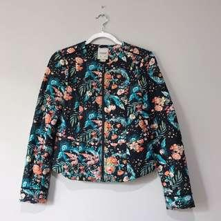 Jacket Floral Blue Black Pull&Bear