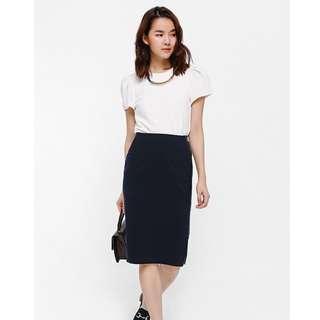 Love Bonito - Sageno Exposed Zipper Pencil Skirt (Navy blue)