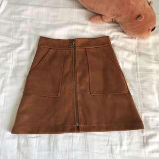 factorie brown suede a line skirt
