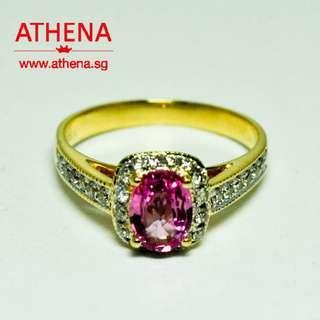 JW_SR_1545 JEWELLERY 18K YG PINK SAPPHIRE RING WITH DIAMOND D28-0.30CTS 3.07G [CERT.]