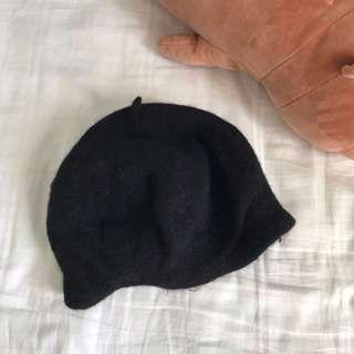 authentic factorie black wool beret