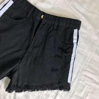 bn black ripped shorts