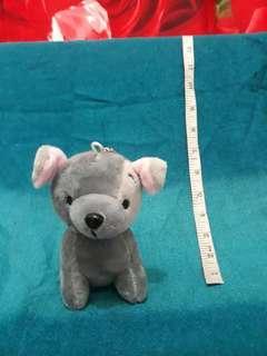 Dog gray mini stuffed toy plush doll keychain
