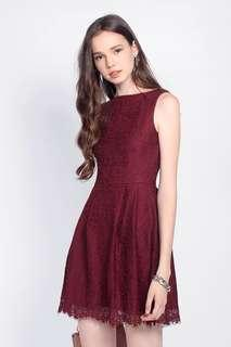 Fayth Loewe Lace Dress in Red (Size M)