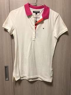🚚 Tommyhifiger 白色桃紅撞色領polo衫
