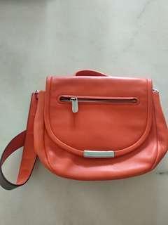 Authentic Mark Jacobs Luna Leather Saddle Crossbody Bag in Orange Glow