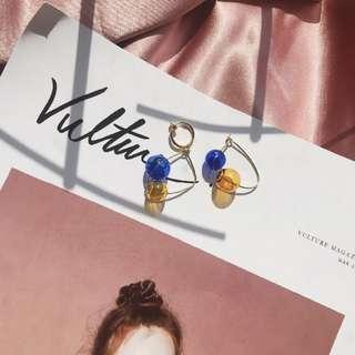 彩色玻璃球 不規則耳環/耳夾
