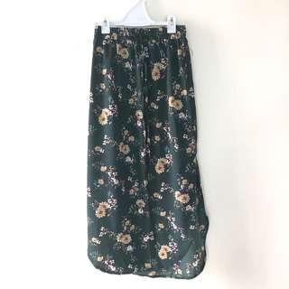 TEMT FLORAL MAXI SKIRT IN GREEN