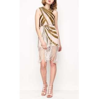 BRAND NEW WITH TAGS ALICE MCCALL NUDE/GOLD SURREALIST DRESS - SIZE 10