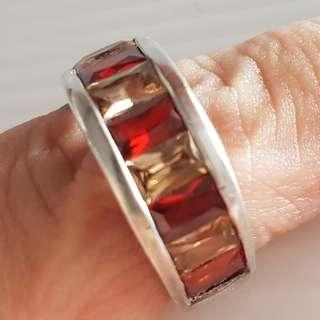 🚚 Rare Silver Ring with Red and White Stones, Vintage Ring, Unique Designer 925 Silver Ring, Iconic, a piece of old jewellery, Street Fashion, Art Décor, For Fashion, For Collector, Retro Style, Exciting Design, Attractive Ring, Funky, Groovy