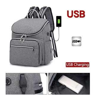 🚚 ❤ On-hand: Stylish Diaper Bag Grey 2 Pcs Set