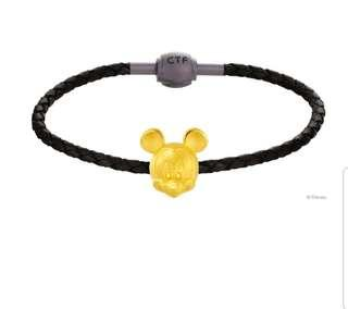 🍊🍊Chow Tai Fook 999 Pure Gold Mickey Disney Leather Bracelet