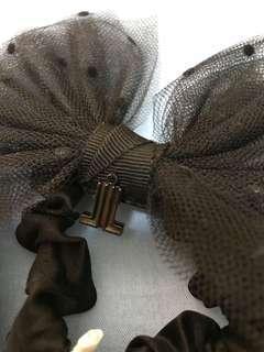 Lanvin en bleu黑色lace蝴蝶橡筋髪飾
