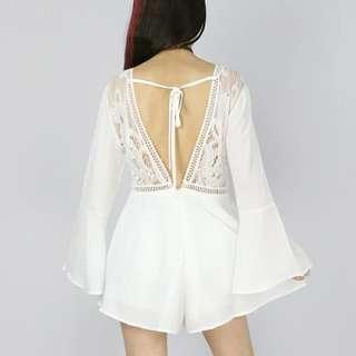 🚚 ✓ Instock Backless Lace Design Romper