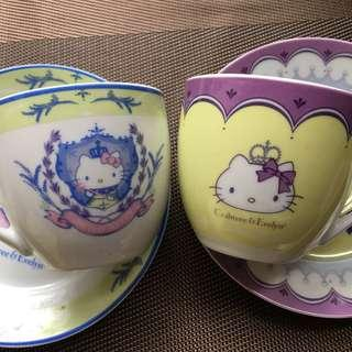 Hello Kitty Crabtree & Evelyn 一套2隻茶杯連碟