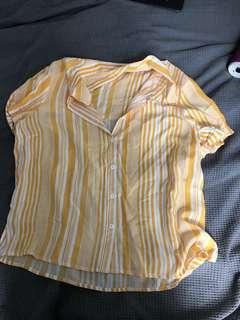 Striped yellow button up top